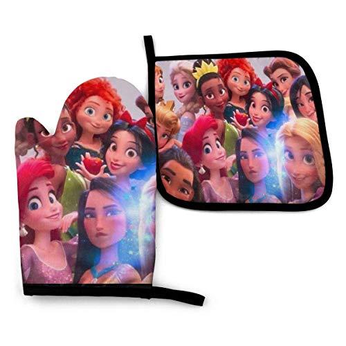 Porta ollas antideslizantes impermeables de las princesas de Disney con manoplas de horno resistentes al calor para cocinar u hornear, guantes de horno guantes de horno manoplas de horno de 11 'x 6.2'