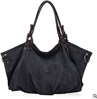 Women Canvas Shoulder Crossbody Bag Zipper Tote Bag Large Capacity Handbag for Travel Beach Shopping