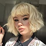 AISI HAIR Short Blonde Wavy Bob Wig with Bangs for Women Girls Natural Looking Pastel Blonde Wigs Curly for Daily Cosplay Halloween