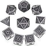 10 Stück Metall Würfel Set DND Spiel Polyhedral Solid D&D Würfel Set mit Aufbewahrung Tasche und...