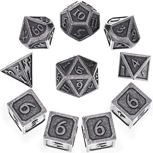 10 Stück Metall Würfel Set DND Spiel Polyhedral Solid D&D Würfel Set mit Aufbewahrung Tasche und Zinklegierung mit Gedruckten Zahlen für Rollenspiel Dungeons and Dragons, Mathematik Lehre (Neu Nickel)