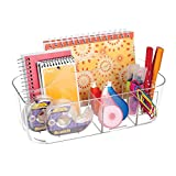 mDesign Plastic Office Storage Organizer Caddy Tote with Handle for Cabinet, Countertop, Desk, Workspace - Holds Erasable Pens, Colored Pencils, Washi Tape, Notebook - Large - Clear