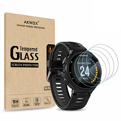 AKWOX [4 Unidades] Protector de Pantalla para Garmin Forerunner 735XT [9H Dureza] Cristal Vidrio Templado para Garmin Forerunner 735XT GPS Multisport and Running Watch Cristal Templado