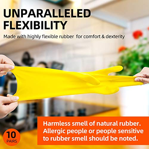 Vgo 10-Pairs Reusable Household Gloves, Rubber Dishwashing gloves, Extra Thickness, Long Sleeves, Kitchen Cleaning, Working, Painting, Gardening, Pet Care (Size M, Yellow, HH4601)