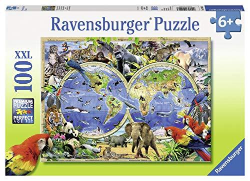 Ravensburger Kinderpuzzle - 10540 Tierisch um die Welt - Puzzle-Weltkarte für Kinder ab 6 Jahren, mit 100 Teilen im XXL-Format