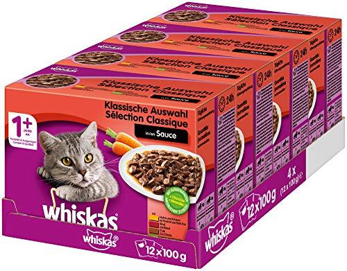 Whiskas 1 + Katzenfutter , Klassische Auswahl in Sauce, 48 x 100g