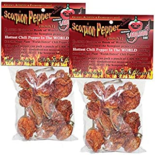 Dried Trinidad Scorpion Chili Pepper (28 Grams=1oz) Hard to Find Limited Edition of the Hottest Pepper in the World 1,400,000 SHU