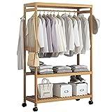 Perchero para ropa de 2 niveles, de madera, para colgar ropa, para el hogar, para el dormitorio, lavandería