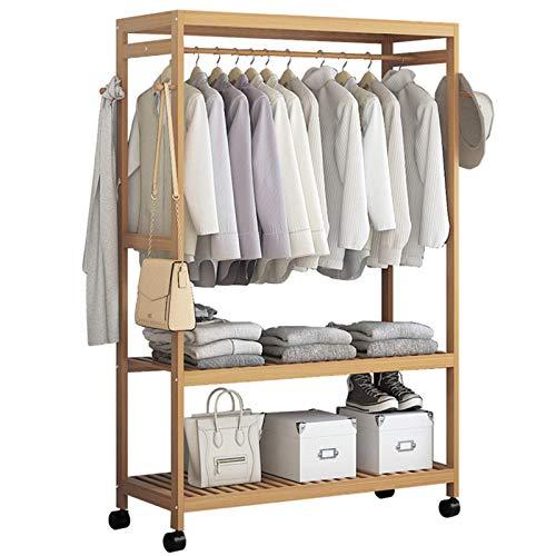 TEET Perchero para ropa de 2 niveles, de madera, para colgar ropa, para el hogar, oficina, interior