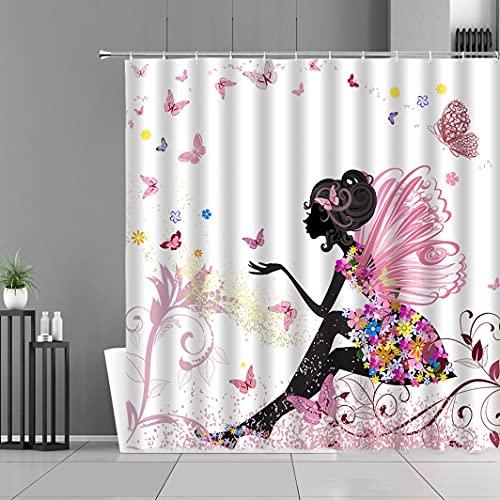 Cortina de la duchaCortinas de ducha de niña africana, cortina de baño de arte de la vida para mujer, pantalla de decoración de baño exótica para el hogar, tela de poliéster impermeable con ganchos