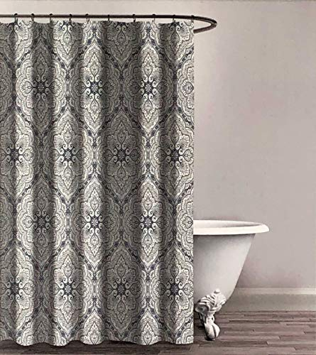 Envogue Designer Shower Curtain Classical Medallion Pattern in Shades of Yellow Blue Taupe Gray on White 100% Cotton Luxury