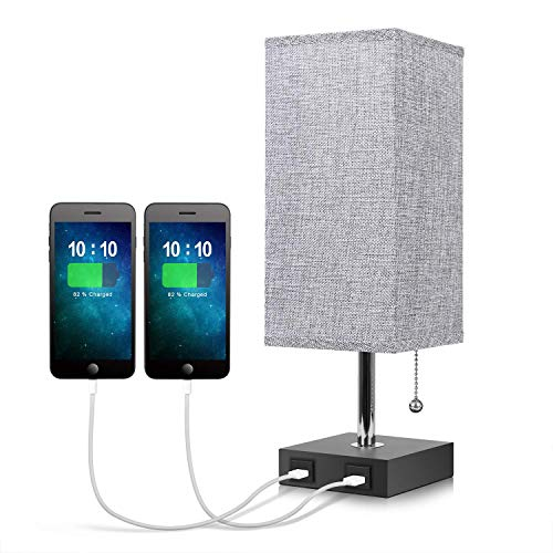Gymqian USB Bedside Tablamp,Seealgrey Modern Tab&Amp; Desk Lamp with 2 USB Fast Charging Port, Solid Wood Unique Lampshade,Convenient Pull Chain for Bedroom Living Room fdsdfvccvcx