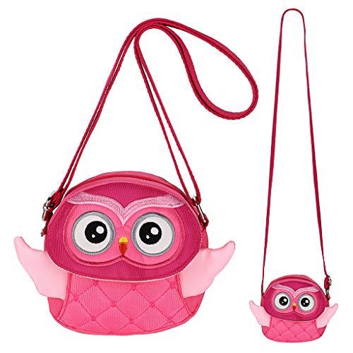 Hipiwe Kids Crossbody Purse Shoulder Bag Mini Cute Little Girls Purses Bags Cartoon Animal Preschool Messenger Handbag for Children Toddler Baby Girls (Pink Owl)