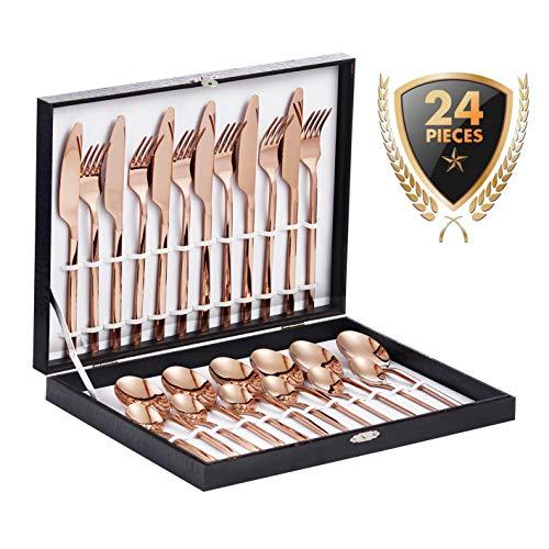 Velaze Set di Posate da Tavola per 6 Persone, Set 24 Pezzi in Acciaio Inox 18/10, Posate Servizio 6 Cucchiai, 6 Forchette, 6 Coltelli, 6 Cucchiaini tè - Oro Rosa (E24)