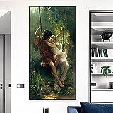 JLFDHR Lienzo artístico de 40 x 60 cm, sin marco, pintor francés famoso Pierre Auguste Cot Primavera para decoración de salón