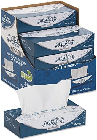 Angel Soft 4836014 ps Ultra Facial Tissue 2 Ply White 8 4 5 x 7 2 5 125 Box 10 Boxes Carton product image