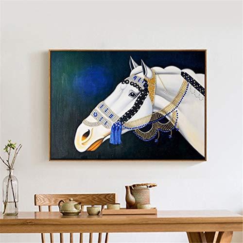 Het paard is succesvol de moderne kunst dierlijke olie schilderen van de hal decoratie schilderen Office studie schilderijen (40 x 60 cm) (Color : Light wood)
