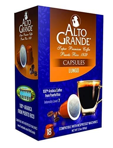 Alto Grande Super Premium Capsules for Nespresso Machines, 100 Percent Arabica Coffee From Puerto Rico (Lungo, 18 Count)