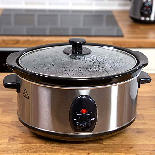 3.5 Litre 200W Stainless Steel Slow Cooker with Removable Ceramic Bowl