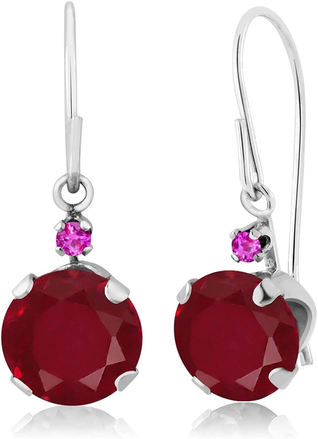 2.14 Ct Round Red Ruby Pink Sapphire 14K White gold Earrings