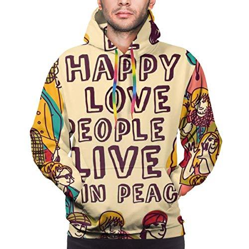 Sudaderas con Capucha para Hombre, Sudadera con Capucha, Grupo de Personas, ilustración Motivacional con la Frase Be Happy Love People Live in Peace, Camisetas de Manga Larga con Estampado 3D