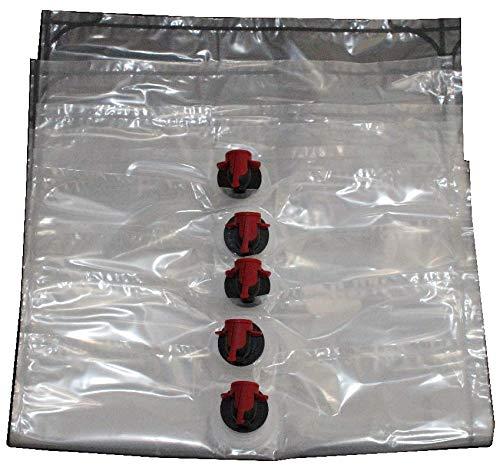 Selma 25 Stück Bag in Box Beutel 5 Liter | Baginbox Beutel in 3L, 5L & 10L wählbar zum Abfüllen von Säften | Saftschlauch | Saftbeutel