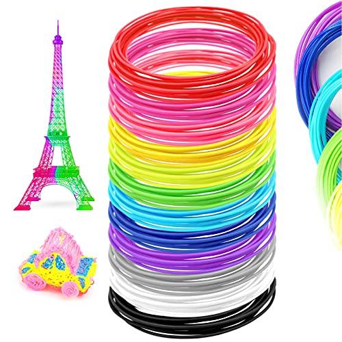 JJQHYC Filamento per penna 3D, Ricarica PLA 12 Colori per Stampante 3D e penna 3D (1,75 mm)