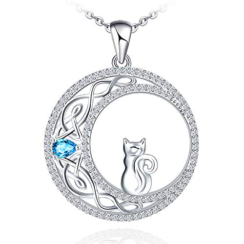 925 Sterling Silver Cat Necklace for Women Girl Celtic Moon Cat Jewelry for Wife Girlfriend Daughter