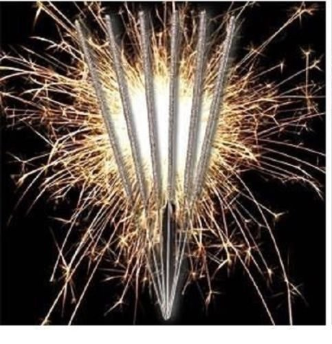 8 Straight Birthday Cake Decoration Sparkler in Silver Celebration Party Candle