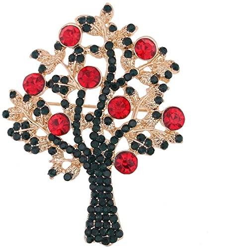 GZA Árbol De Navidad Diamante Tridimensional Broche De Dibujos Animados Exquisito Aleación Rhinestone Planta Broche Collar Pin Simple Joyería Bricolaje (Color : Multi-Colored)