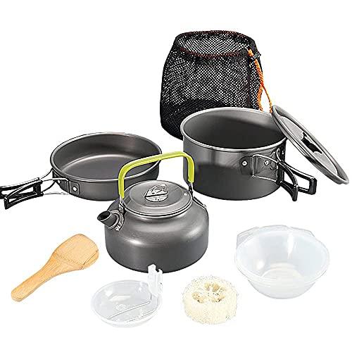 Juego de utensilios de cocina para acampar al aire libre Juego de cocina liviano para 2 a 3 personas Camping para viajes Picnic Senderismo al aire libre (juego de utensilios de cocina para acampar)