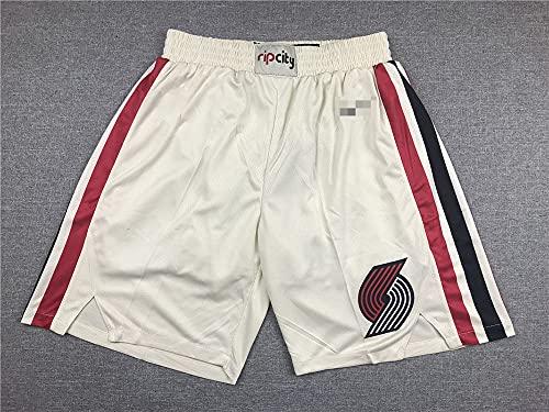 YZQ Hombres NBA Portland Trail Blazers White Summer Shorts De Baloncesto Transpirables Y Resistentes Al Desgaste, Shorts De Entrenamiento para Fanáticos del Baloncesto,Blanco,XL(185CM)