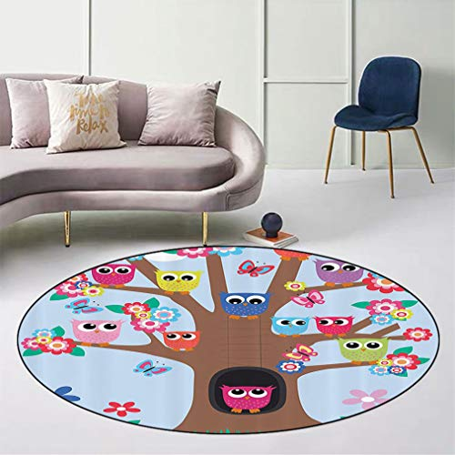 "Owl Decor Skid-Resistant Round Floor Mat, Cute Owls on Tree BFF Best Friends Forever Home Accent Design for Friendship Safe for All Surfaces Home Playroom, Diameter 43"" Multicolor"