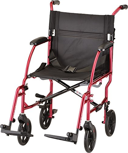 NOVA Medical Products Ultra Lightweight Transport Chair, Red, 1 Count