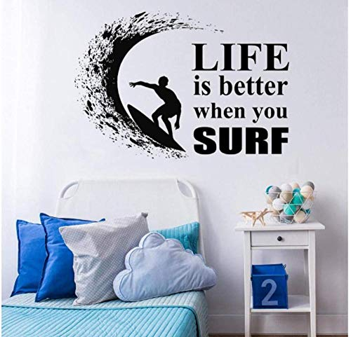 Tabla de surf Simple Wave Ocean Extreme calcomanías de vinilo para pared pegatina deportes papel tapiz impermeable para Bddroom 81X57CM