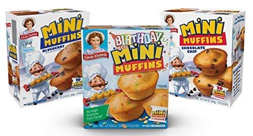 Little Debbie Mini Muffin Variety Pack, Birthday Cake, Blueberry, Chocolate Chip (1 Box Each)