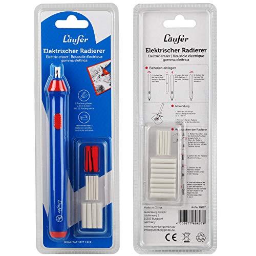 Läufer 69607 Elektrischer Radiergummi, batteriebetriebener Radierstift, wechselbare Aufsätze mit 2 Größen, inkl. 23 Radierer
