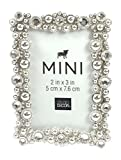 Studio Decor Bejeweled Silver Tone Metal Mini Picture Frame 2 X 3