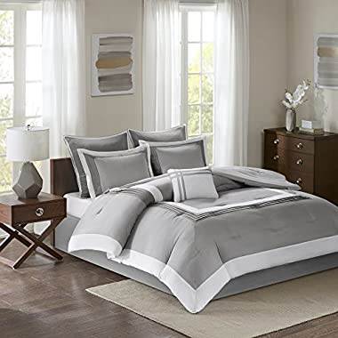 Comfort Spaces Malcom Comforter Set - 7 Piece – Grey - Queen Size, Includes 1 Comforter, 2 Shams, 1 Bedskirt, 2 Euro Shams, 1 Decorative Pillow