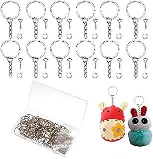 50 Pcs Key Chain Rings Metal Split Keyrings Silver Key Ring Bulk Keyring Blanks with Link Chain 50 Pcs Open Jump Rings and...