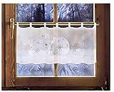Scheibengardine WEIHNACHTSKUGELN 45 x 120 cm Caféhausgardine Weihnachtsgardine weihnachtliche Landhausdeko