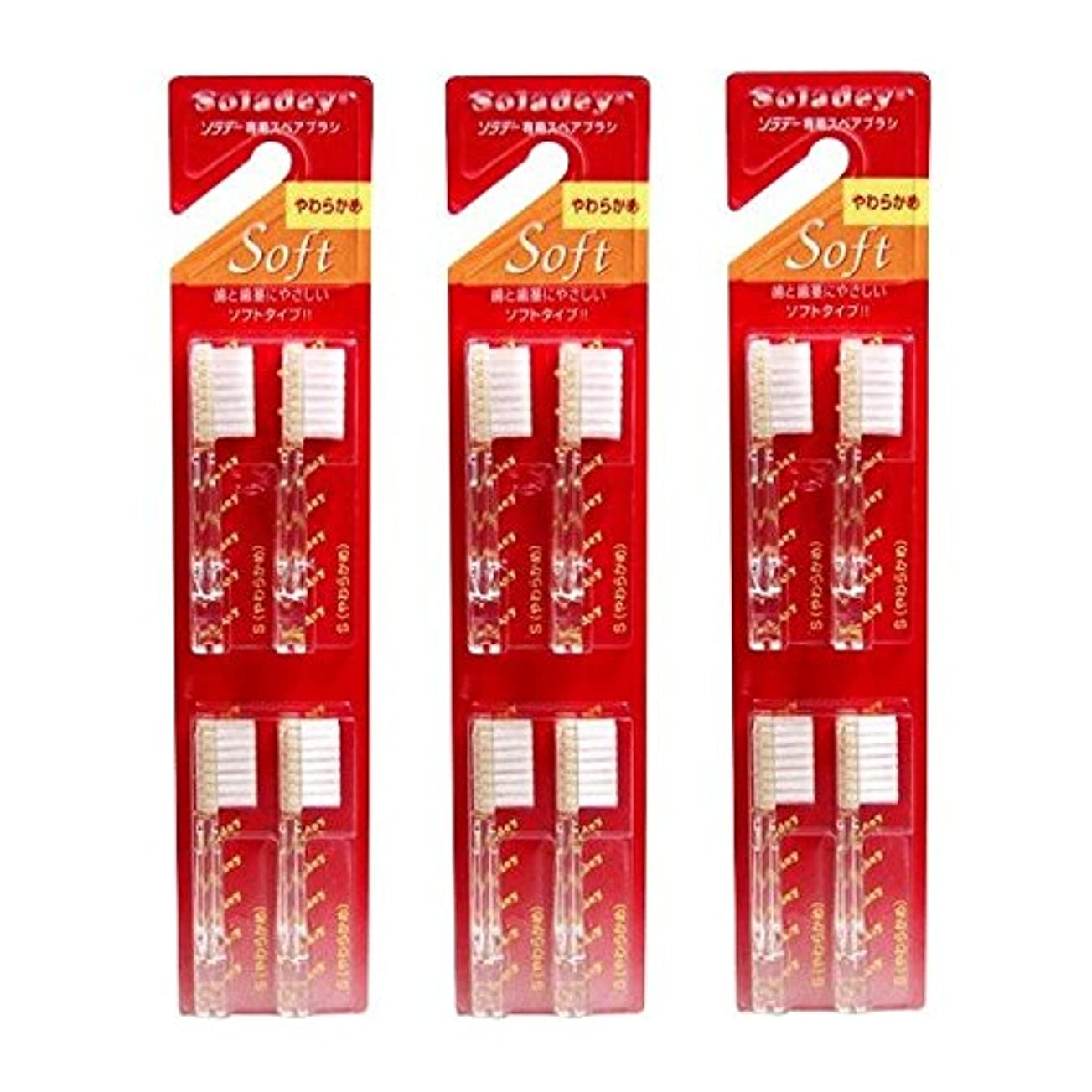 勤勉なマッサージ家庭教師ソラデー 専用スペアブラシ 4本入 S(やわらかめ)  ×3個セット