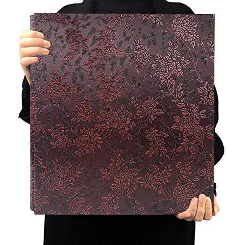 RECUTMS 600 Photo Picture Album PU Leather Cover Sewn Bonded Memo Album Slots Album Holds 4x6 Photos 5 Per Page Family Album Gift for Mother Father (Claret Grape Flower)