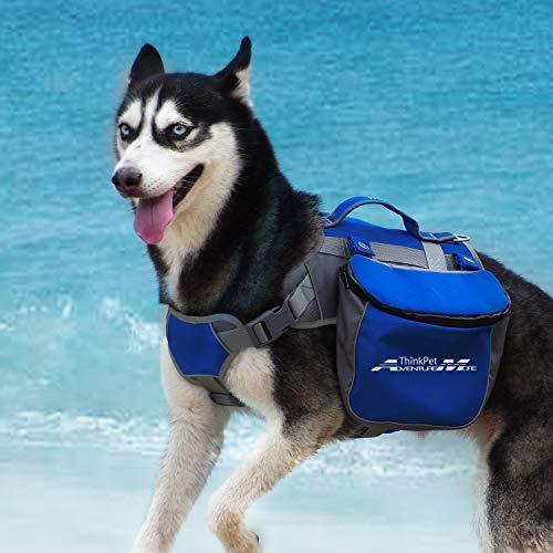 ThinkPet Hund Packtaschen Doppeltasche für Hound Travel Outdoor Hund Rucksack Reflektierende Satteltasche Hund Rucksack für mittelgroße Hunds Camping Wandernausrüstung, EINWEG Verpackung