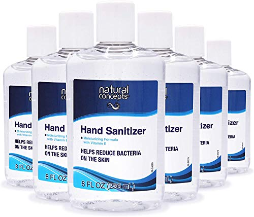 Natural Concepts Hand Sanitizer Gel, 6-Pack, 8 oz Bottles, 65% Ethyl Alcohol, Protect Against Germs On-The-Go with a Refreshing Vitamin E Formula (12)