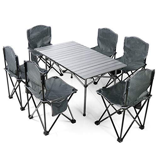 MODEO Portable Foldable Camping Table Chair Set, Aluminum Camp Folding Side Table with 6 Foldable Chairs/Outdoor Camping Table for Camping Picnic