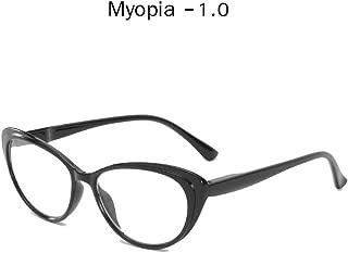 LNNSCE Retro Finished Myopia Glassse for Women Clear Lens Nearsighted Glasses Prescription Eyeglasses Unisex-1.0To-4.0