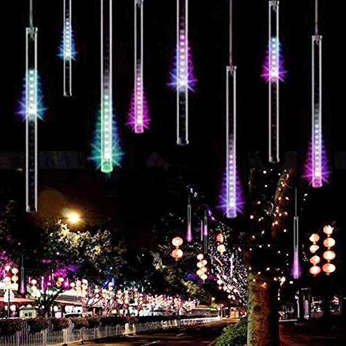 KEEDA Guirlande lumineuse solaire de 30 cm avec 10 tubes de 360 LED - Étanche - Décoration de Noël - Multicolore