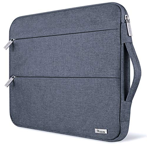 Voova 15 15.6 14 Inch Laptop Sleeve Case with Handle Compatible with MacBook Pro /15' Surface Book 2 /XPS 15 /Chromebook/HP/Lenovo, Waterproof Protective Cover Bag with 2 Accessory Pockets,Dark-grey