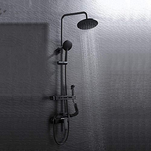 Allamp El Cobre Negro Juego de Ducha del Hotel Baño Ducha Set de baño Hogar Cobre Booster Ducha Ducha Cabeza de Ducha del Cuarto de baño Hermosa práctica